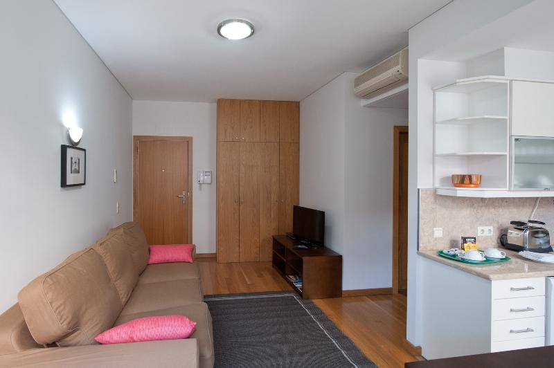 Living room and kitchenette with unfold table for 4 persons