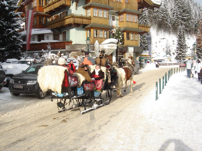 Sleigh rides summer and winter take you to a beautiful mountain alm for a traditional meal