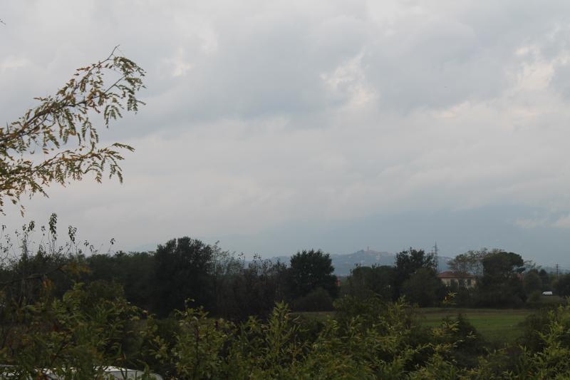 la vista dalla terrazza. uno sguardo su Montecarlo e in lontananza le Alpi Apuane