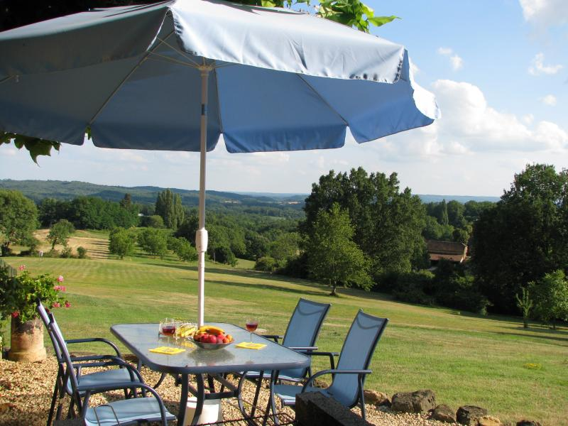 Cottage with stunning views from every room heated pool large gardens WIFI, holiday rental in Salignac-Eyvigues