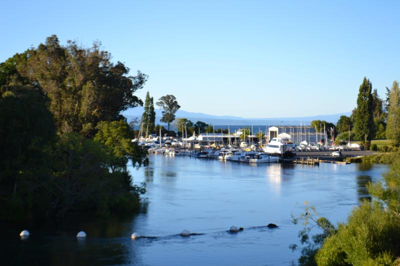 Expansive views from the apartment down to the Lake Taupo Marina