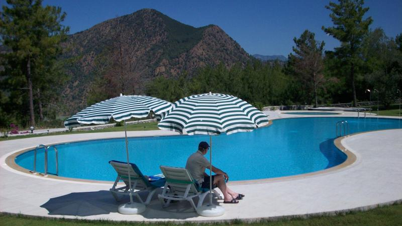 Relax at the pool and gaze at the mountain view