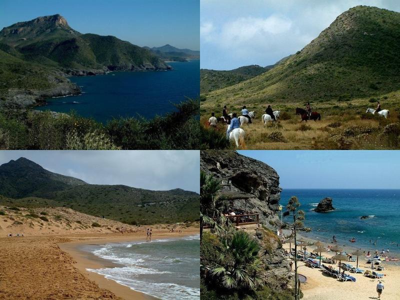 Réserve naturelle de Calblanque une fusion des merveilleuses plages de sable, des bancs de sable, des collines, en tête de falaise