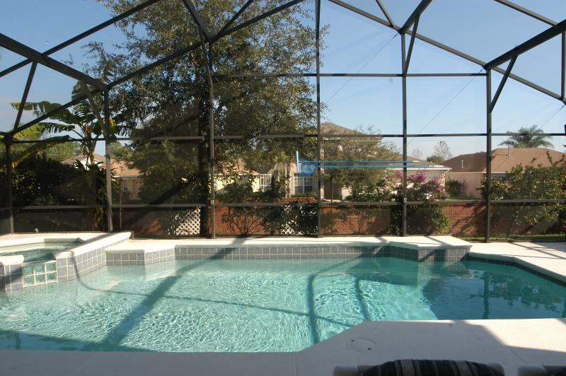 Large private heated swimming pool & spa