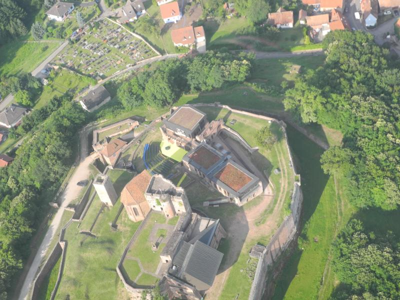 Aerial view of the Castle, the cottages at the top right