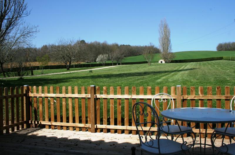 Lovely views across farmland from the terrace