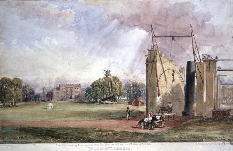 Print of the telescope with Lord Rosse overseeing work.  Birr Castle Demesne