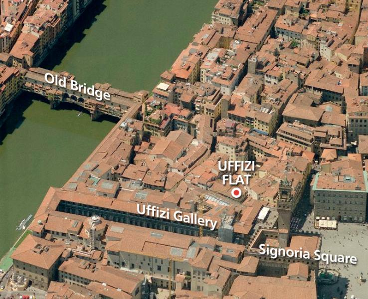 The flat's excellent location ,in the heart of medieval Florence.Really steps from Uffizi Gallery !