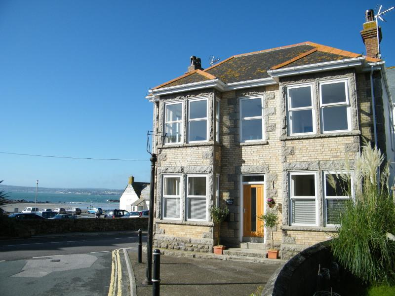 Front of the house and the fantastic view across Mount's Bay