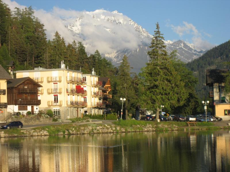 East view of Lac de Champex,  Residence Les Grand Combins with Les Grand Combins Mountains in the di
