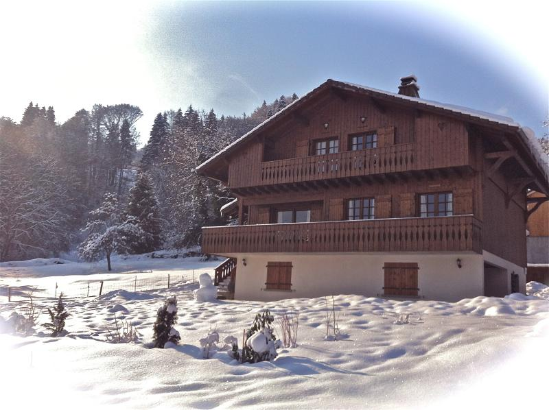 Our beautiful chalet nestling in a blanket for fresh snow