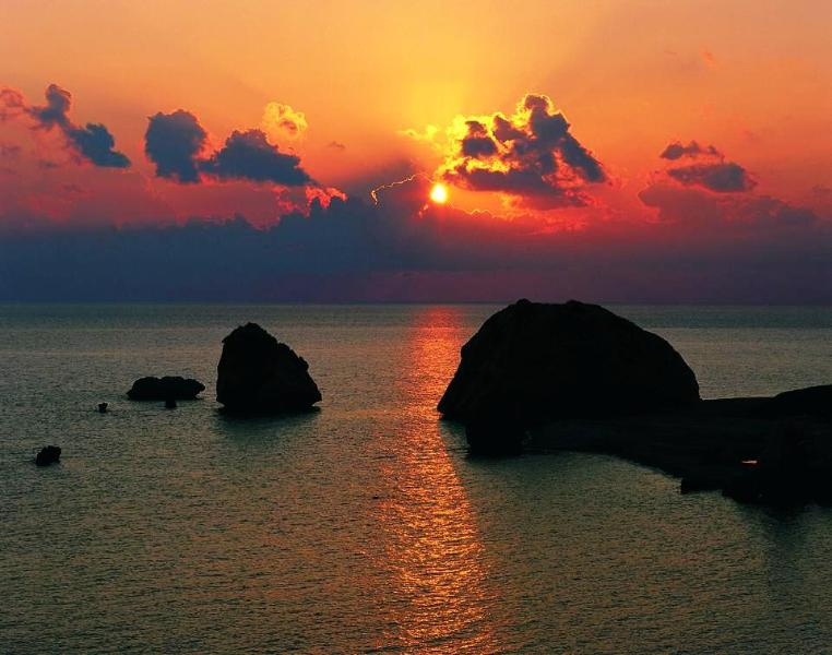 Aphrodites rock at sunset