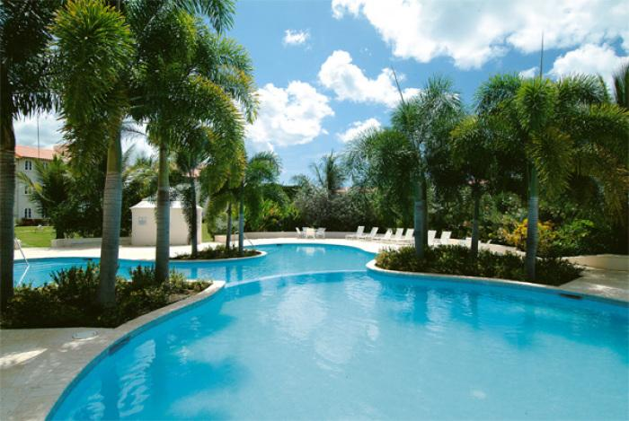 Begin your relaxation by the tranquil palm tree pool with cocktail in hand.