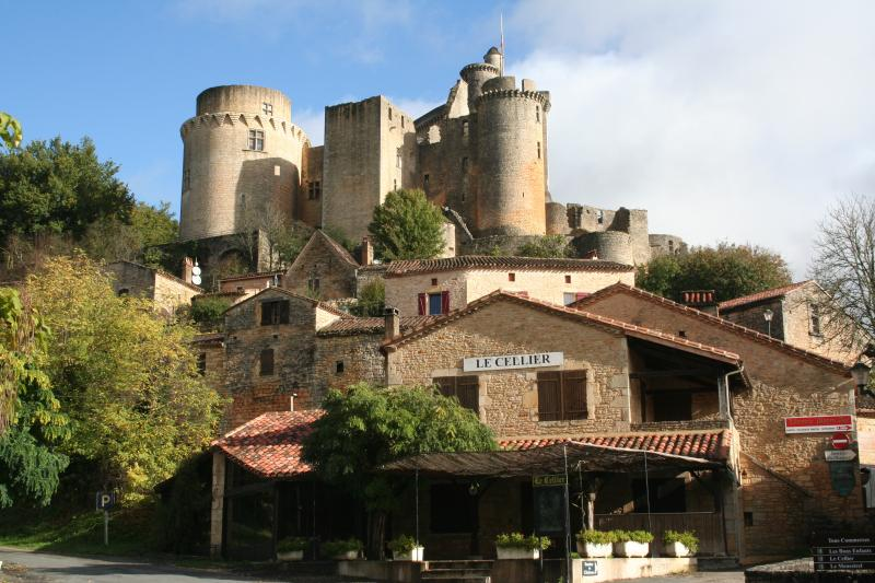 Nearby Chateau Bonaguil, surrounded by cafes and craft shops