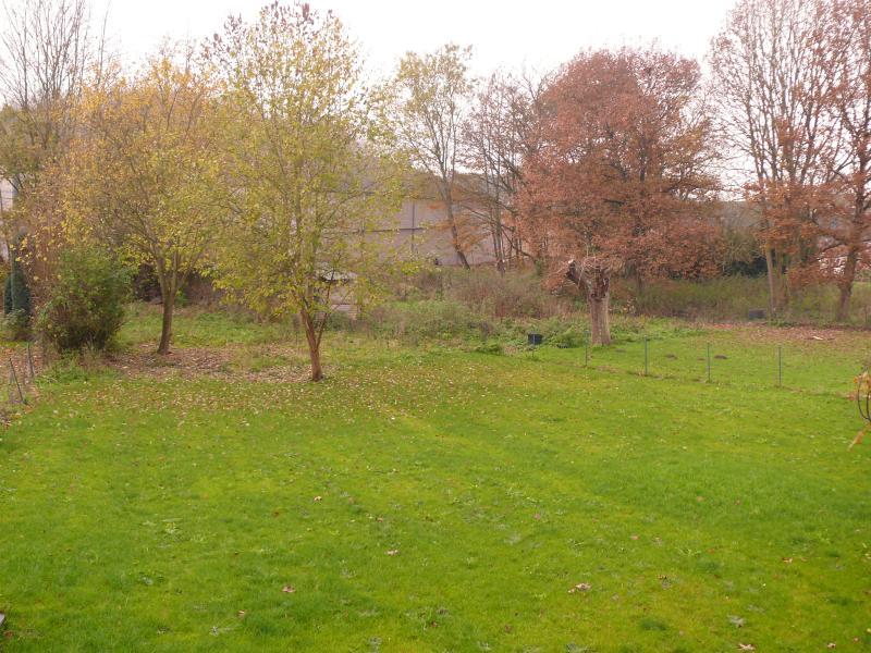 Grand jardin arboré, bordé par un petit ruisseau, terrasse pavée et éclairée
