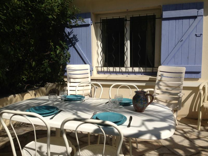 Very pleasant outdoor dining option private garden terrace