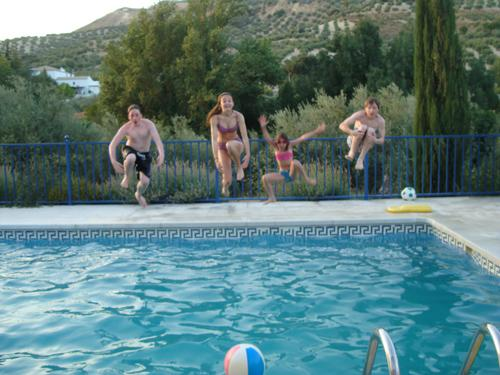 Quick splash in the massive 50 square meter pool Casa Ava