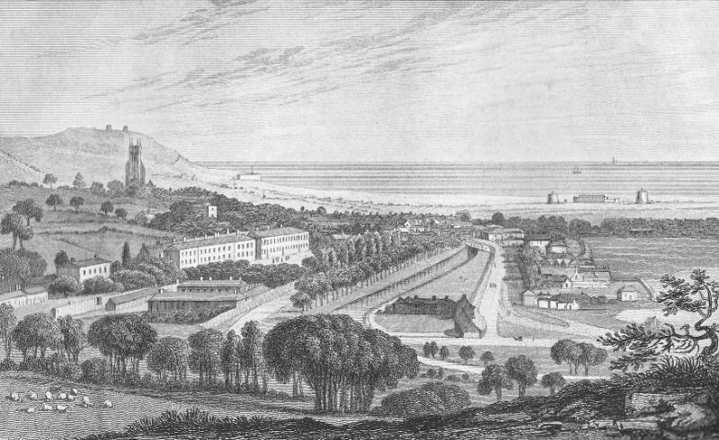 Engraving of 'The Barracks and Town of Hythe, Kent' from Ireland's History of Kent, V