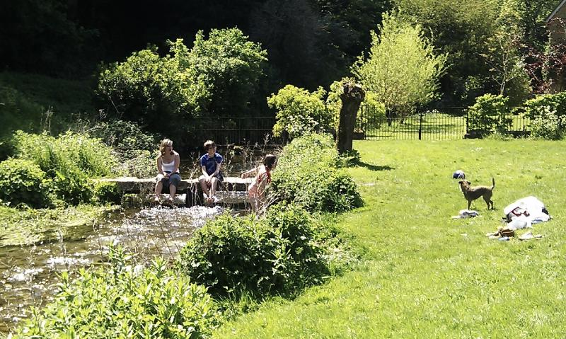 Our family picnic in Lower Slaughter couple of miles from cottage