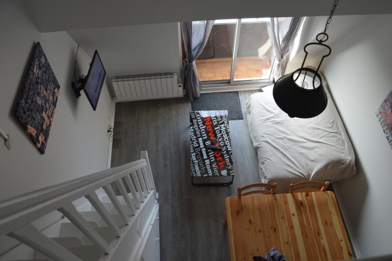 Salle Salon canapé table basse coin télévision et accès balcon