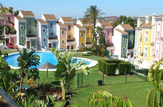 Photograph of the Villa and the main swimming pool