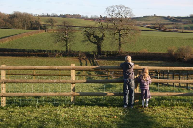 Back garden with views over open fields
