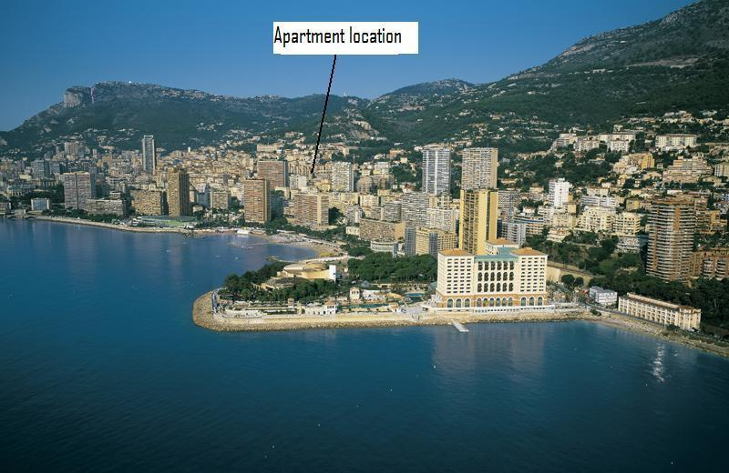 A view of Monaco with apartment marked