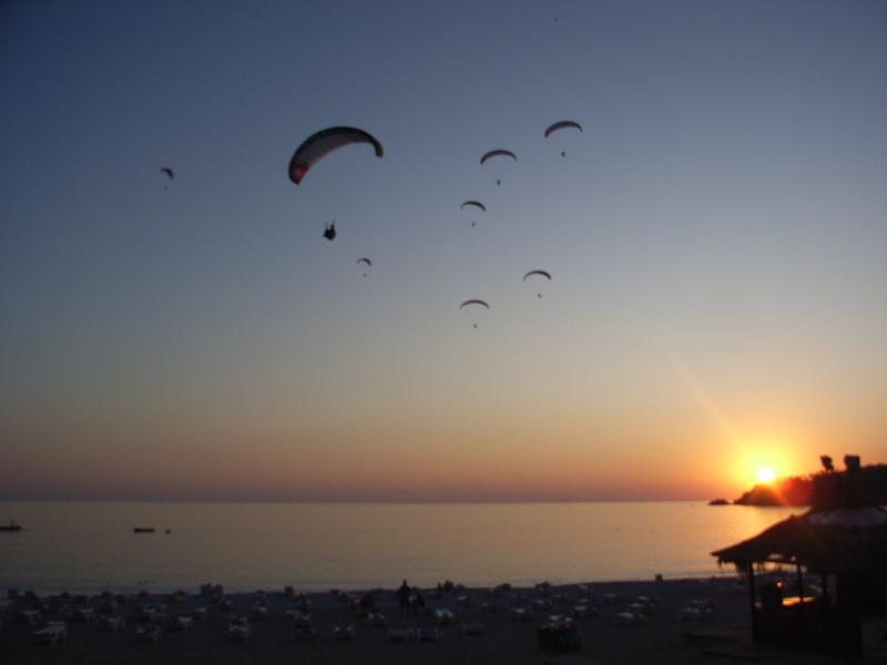 View From Olu Deniz Roof Top Bar Watching Paragliders And Sunset