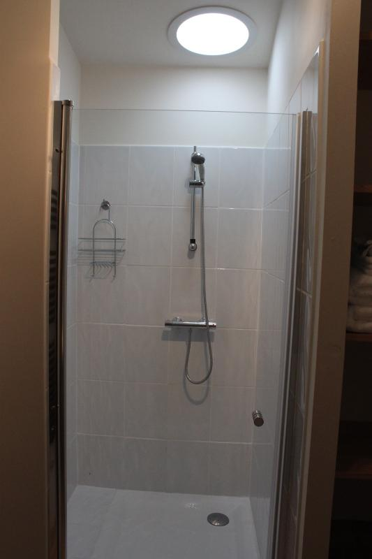 Large shower in main bathroom (WC is separate)