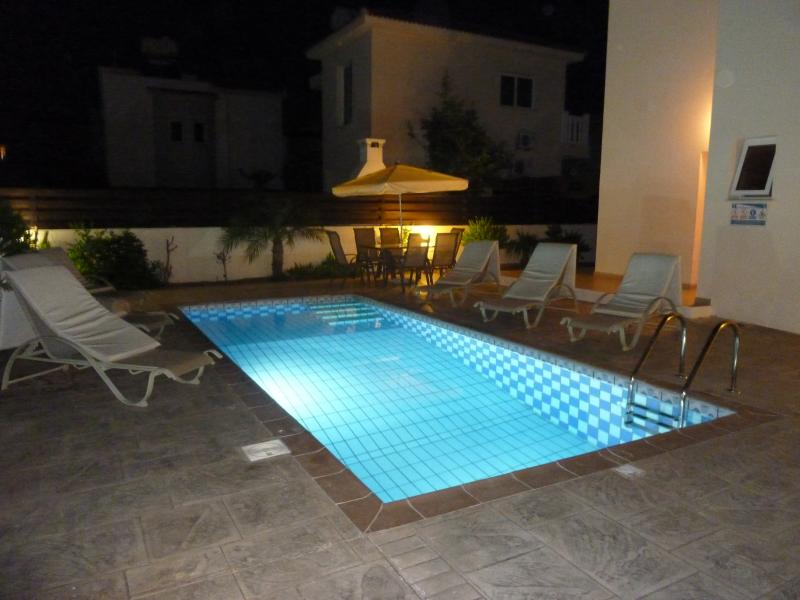 Our private pool at night