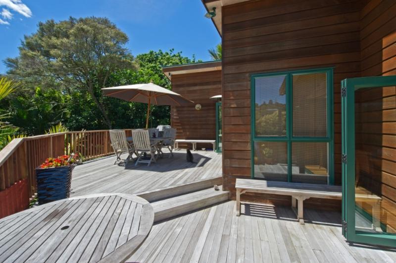 A beautiful wooden deck for outdoor eating and social enjoyment. Children love to explore the garden