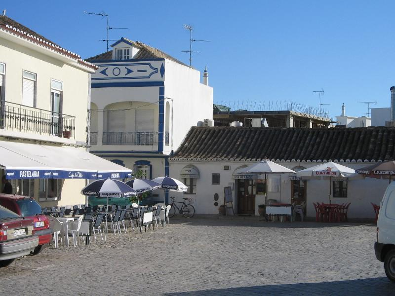 Village square with cafe and restaurant