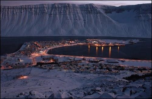 Ísafjörður in the wintertime