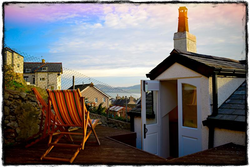 View from the cottage rear deck over Llandudno Bay.