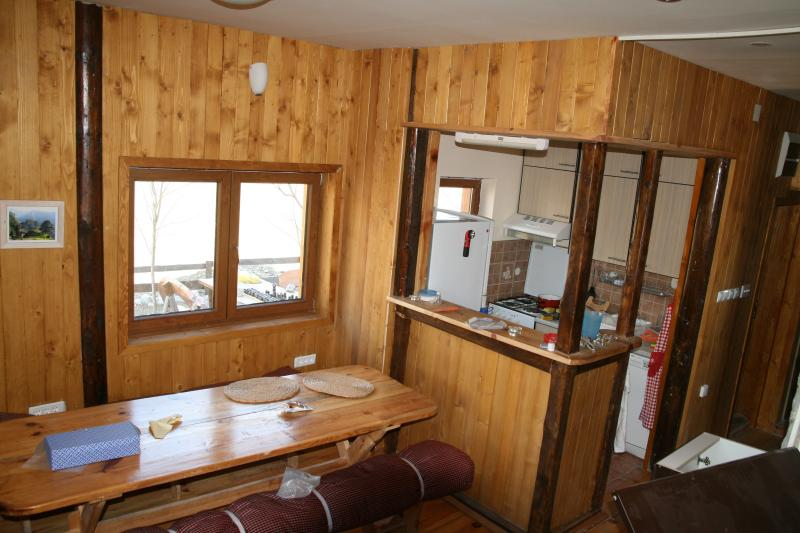 Kitchen and dining area with great views