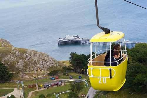 The longest cable car journey in the UK rising above Happy Valley in Llandudno.