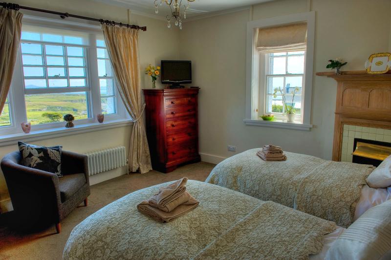 Dos camas individuales o poner junto haciendo un rey tamaño, de cualquier manera es amplio y confortable.