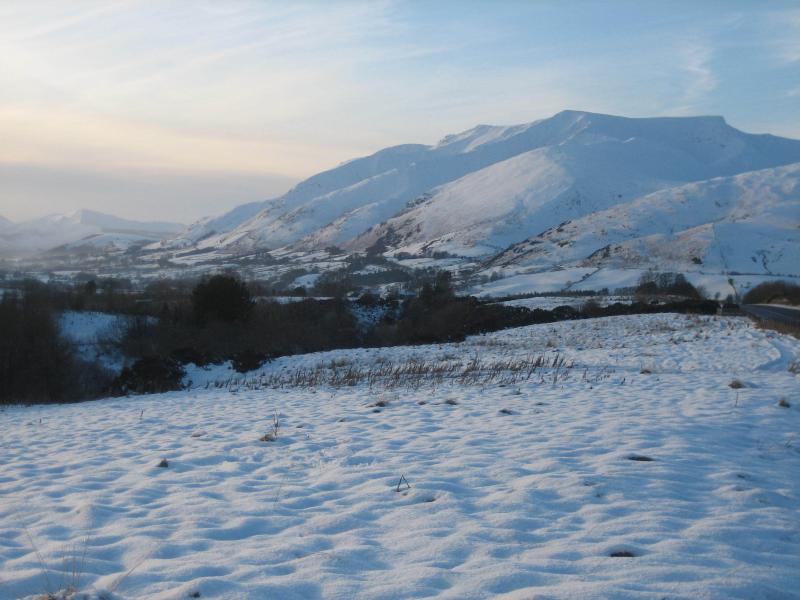 Blencathra covered in snow on the drive to Keswick