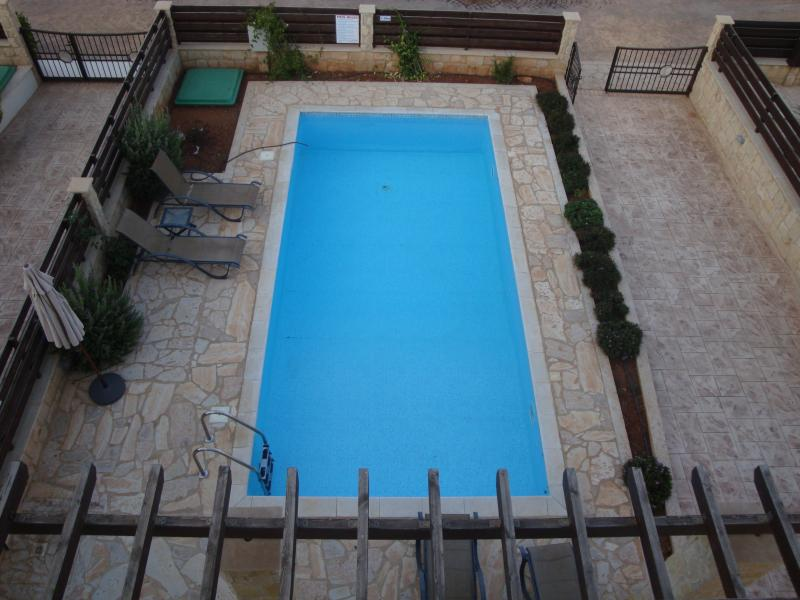 Looking down on pool from the roof terrace