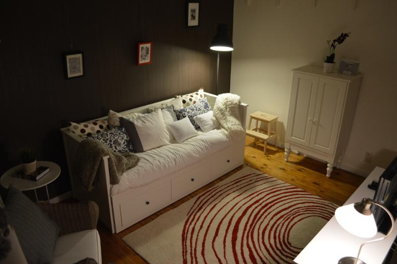 The living room in the evening.