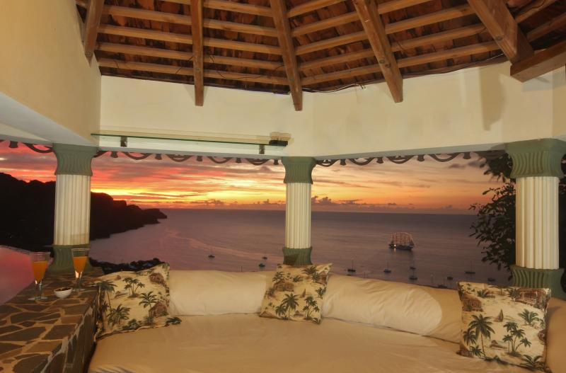 The lovely Gazebo. Beautiful sunsets and incredible daytime views over the Caribbean Sea