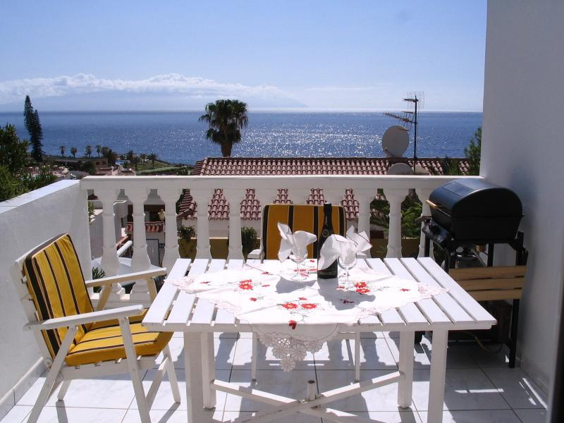 The terrace with a panoramic view over the ocean to the island of La Gomera