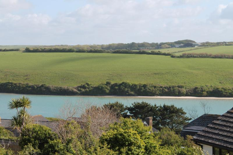 views of the river gannel estuary when the tide is in from the bedroom window.
