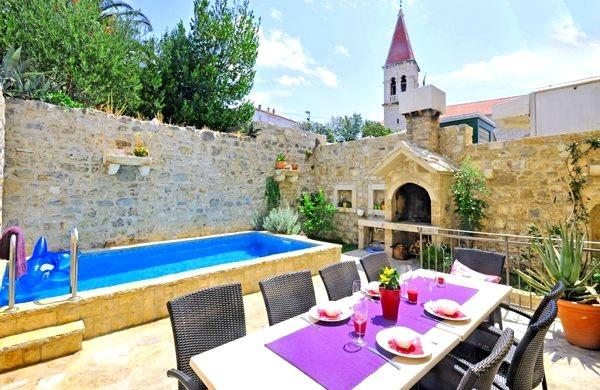 terrace with pool and BBQ