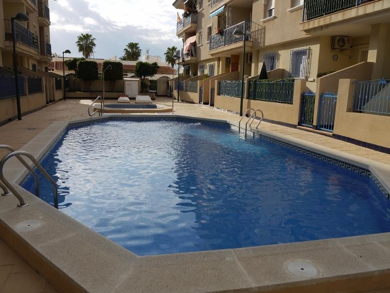 Our ground floor apartment on the right hand side with direct private access onto the pool