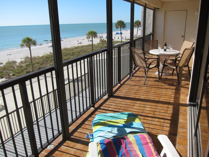 Relax on the twin sun beds on the balcony, or dine there