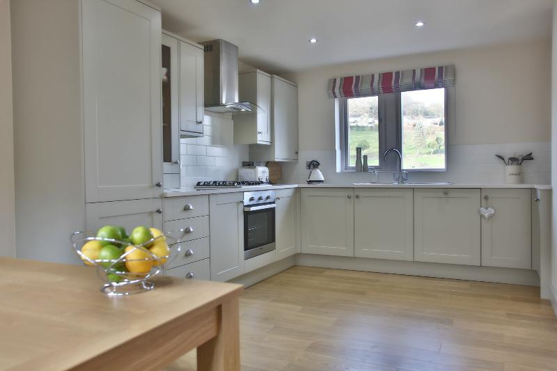 The stunning fully fitted dining kitchen overlooking Victoria Park.