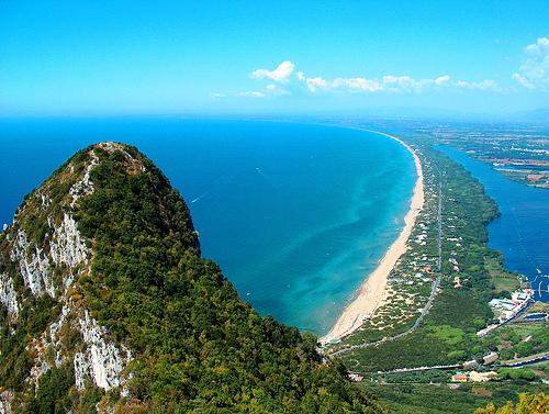 The famous beaches of Sabaudia and the Circeo. A little slice of land divided the sea from the lake