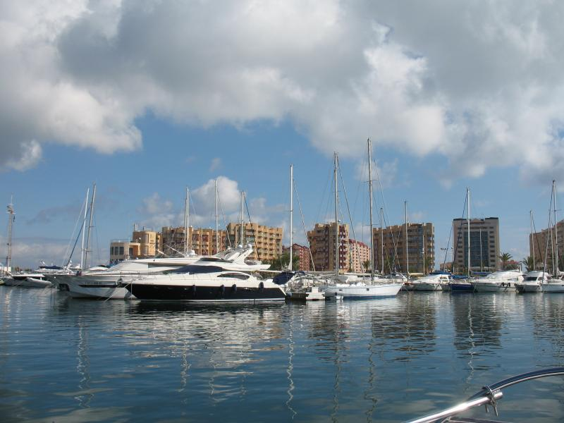 View of apartments from the marina