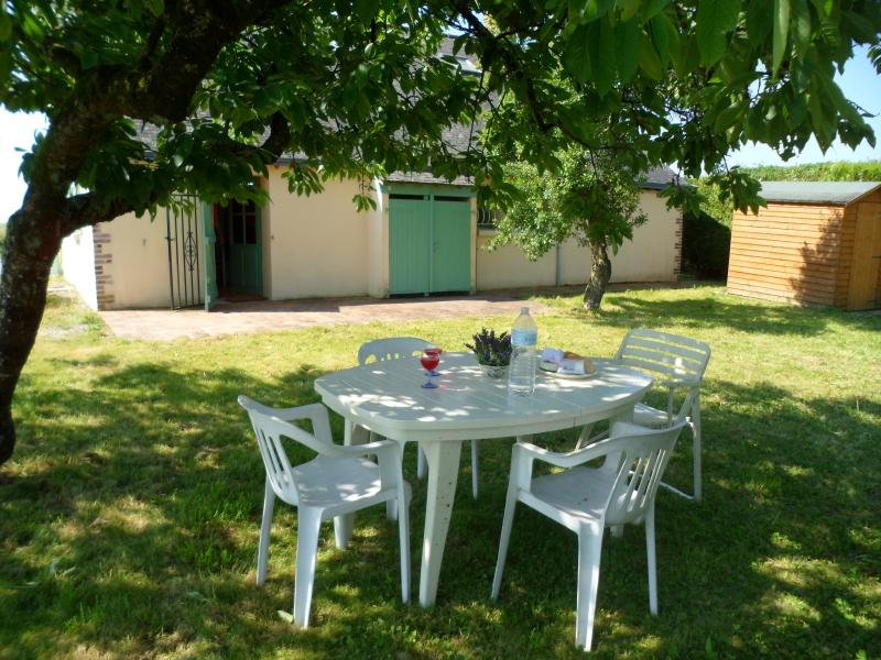 Enjoy a glass of wine with your lunch under the cherry tree.